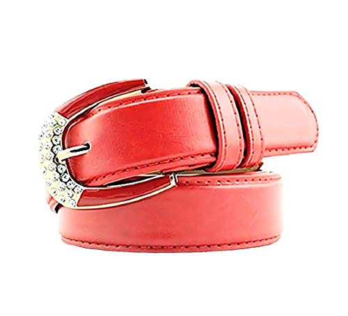 Damesriem - rood - voor jeans - kunstleer - consyq gesp - 131 strass