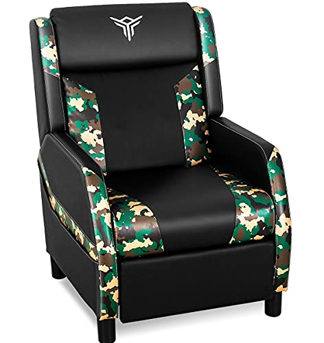 ELECWISH Massage Gaming Recliner Chair Single Ergonomic Lounge Sofa with Footrest Racing Style Modern PU Leather Reclining Home Theater Seat for Living & Gaming Room (Camouflage Green)