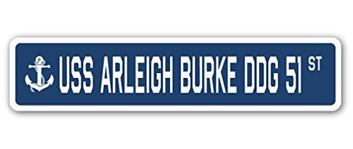 USS Arleigh Burke DDG 51Street Sign azul marino barco marinero Veteran Vet USN regalo