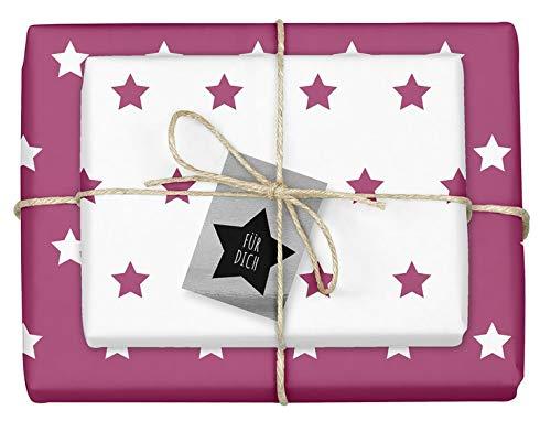 Weihnachtsgeschenkpapier-Set: Sterne (lila/ weiß): 4x Einzelbögen + 4x Geschenkanhänger