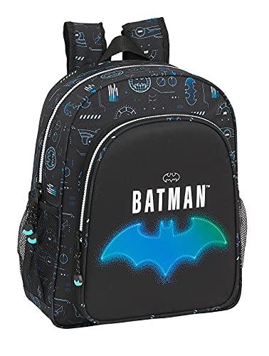 Safta Mochila Escolar Junior de Batman Bat-Tech, 320x120x380 mm, Negro