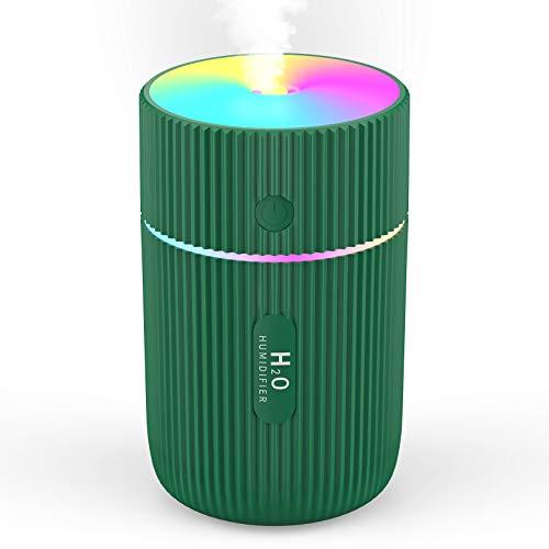 Luftbefeuchter ZIMAIC USB Luftbefeuchter Mini Ultraschall Humidifier mit Bunter Cooler Nachtlichtfunktion, 3 Filter und Automatische Abschaltung, Super leise für Auto Haus Büro (Green)
