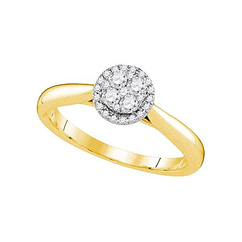GemApex Round Halo Diamond Engagement Ring Solid 14k Yellow Gold Cluster Bridal Band Illusion Set Fancy 1/4 ctw