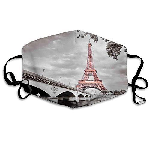 Bequeme Winddichte Maske, Paris, Eiffelturmbrücke Hauptstadt Cloudscape Monochrome Style Picture Print, Dimgray und Lachs