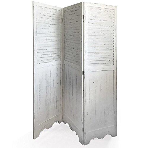 VERDELOOK Shabby, Paravento a 3 Ante in Legno,Anta 44x168x3 cm, Bianco, per arredo casa.