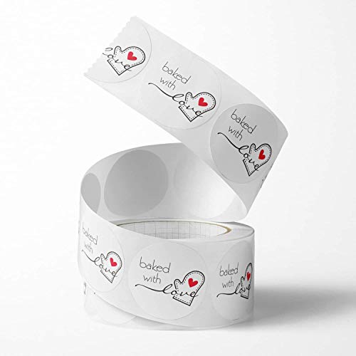 Unihom - Baked with Love Stickers Roll (Set of 2, 1000 pcs) 2.5 cm / 1 inch Small Self Adhesive Label Boutique Supplies for Business Letter, Gift Packaging, Customer Mailer & Retail Bag (White)