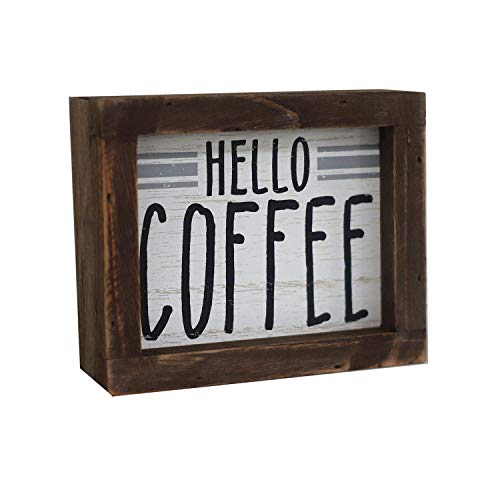 Parisloft Hello Coffee Barn Wood Small Box Sign for Kitchen Decor Coffee Bar Rustic Wooden Coffee Sign Plaque Freestanding Farmhouse Kitchen Decor Wood Home Decor 58x48