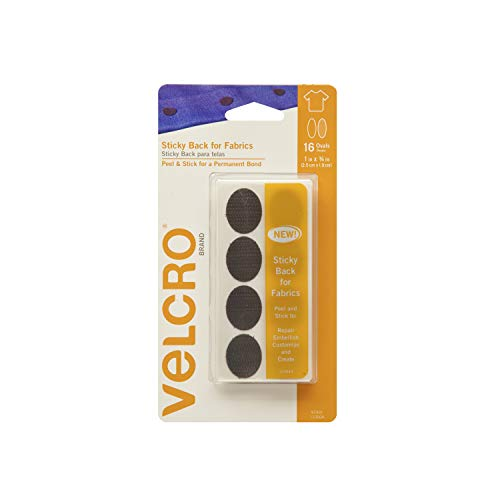 VELCRO Brand for Fabrics | Permanent Sticky Back Fabric Tape for Alterations and Hemming | Peel and Stick - No Sewing, Gluing, or Ironing | Pre-Cut Ovals, 1 x 3/4 inch, Black - 16 Sets
