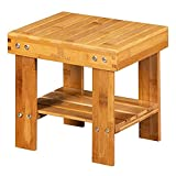 MASTLU Bamboo Step Stool Anti-Slip Lightweight Small Seat Stool with Storage Shelf Wooden Stool, Foot Rest Stool for Home, Bedroom, Bathroom Foot Rest Shaving Stool