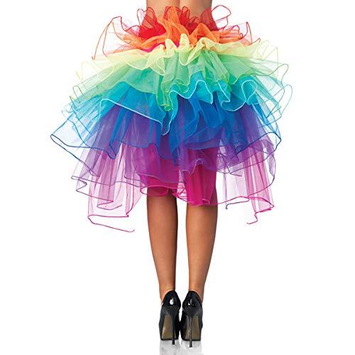 UTOVME Regenbogen Multicoloure Tute Roeckchen Ballett-Tanz-Rueschen Layered Tiered Kleid Rock