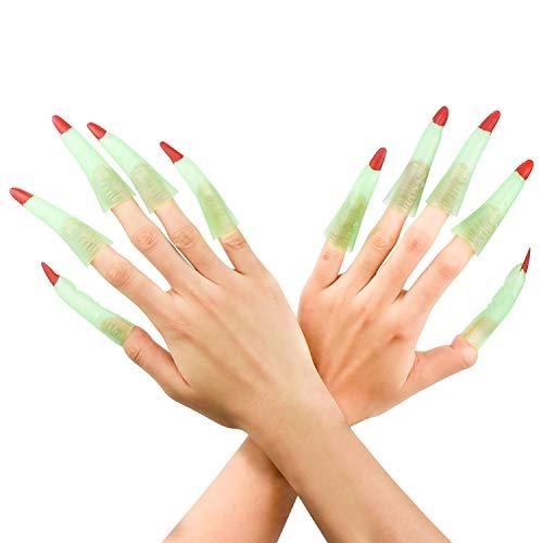 NATEE 10 Pcs Fingernägel zum Aufstecken Nägel Hexe Hexer Accessoire Kostüm-Zubehör Hexenfinger Krallen Kostüm Cosplay Party
