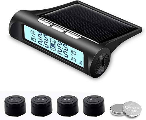 B-Qtech Solar Power Tire Pressure Monitoring System Wireless TPMS Monitor with 4 External Sensors Adjustable Display Angle-Solar System