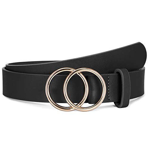 Western Cowgirl Belts for Women Plus Size,SUOSDEY Womens Black Leather Belts for Jeans with Gold Double Ring Buckle