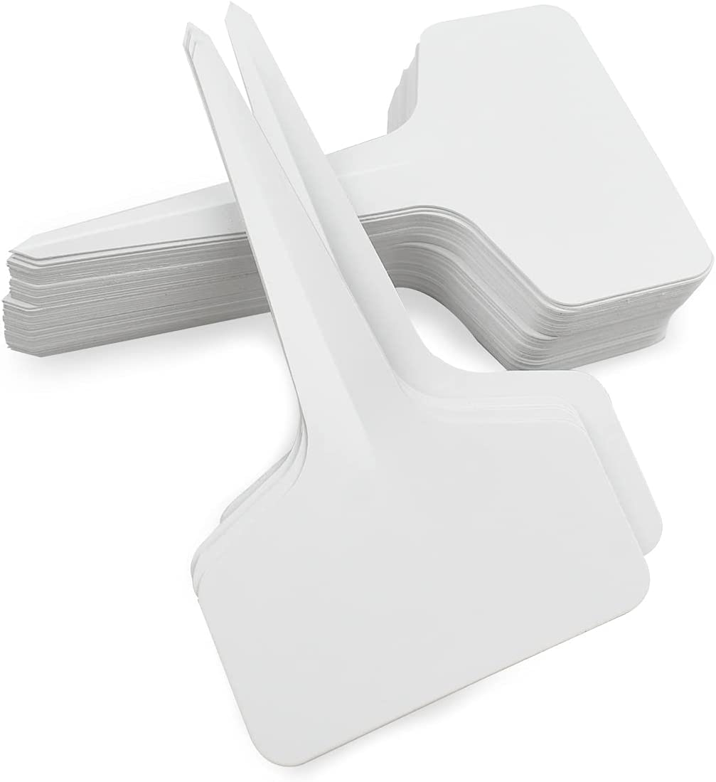 50 Pcs Plastic Plant T-Type Tags T Tag Plant Markers Waterproof Nursery Garden Labels T-Type Plant Sign Tags Grayish-White T-Type Plant Labels Plastic Garden Tags for Potted Flower (2.36