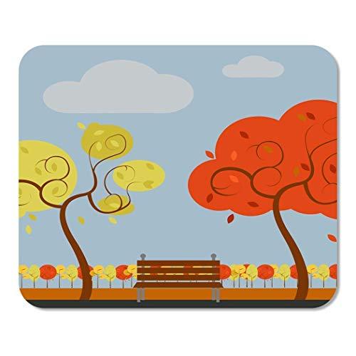 asdew987 25X30cm Mouse Pad Alfombrilla de ratón Parque Silla de dibujos animados Simple Otoño Paisaje activo hermoso