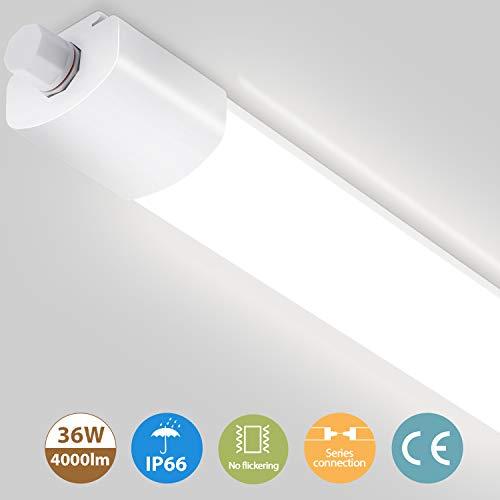 Oeegoo LED Röhre 120cm 36W 4000Lm Reihenschaltung, Flimmerfrei IP66 Wasserdichte Feuchtraum LED Als Bürodeckenleuchte, Werkstattleuchte, Wannenleuchte, Kellerleuchte, Garagelampe, 4000K