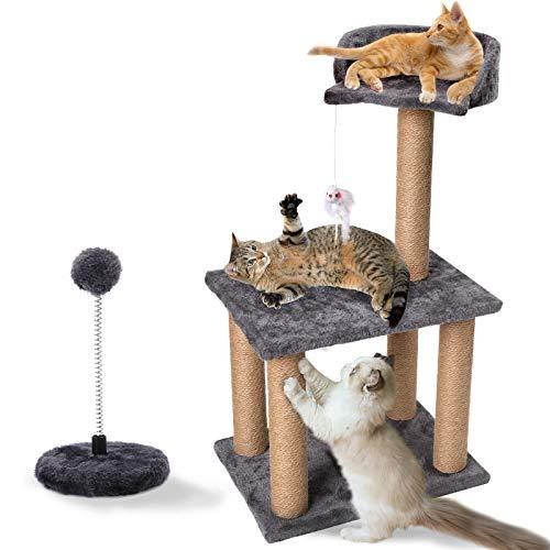 PowerKing Kratzbaum, 3-stufiger Kitty Cat Kletterturm mit Sisal Scratcher Post, Maus, Spielbälle Spielzeug-Kätzchen Aktivitätszentrum mit Katzenbarschbett, Katzengeschenk