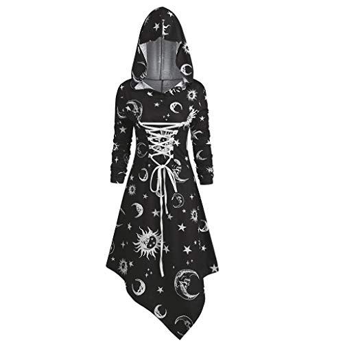 ZEELIY Retro Kleid mit Kapuze für Damen Frauen Lange Ärmel Damenkostüme Vintage Mittelalter...