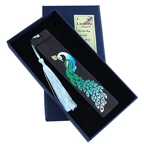 Segnalibro in legno fatto a mano Set segnapagina per gli amanti dei libri, regalo di anniversario, collezione, confezione regalo - pavone dipinto