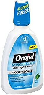 Orajel Alcohol-Free Antiseptic Mouth Sore Rinse, Fresh Mint, 16 Fl Oz (Pack of 2)