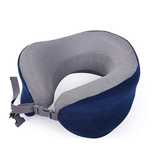 Cojin Cervical Portátil Ajustable en forma de U Almohada de viaje de rebote lento de la memoria de la siesta del Ministerio del Interior de espuma almohadilla del cuello del coche Aviones Cojín Azul A