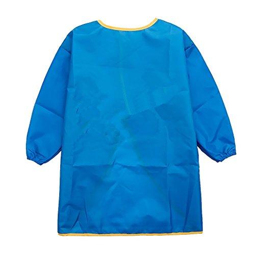 Kinder Malkittel, Kinder Bastelkittel, Bastelschürze, Kinder Schürze - Malschürze mit Langarm(Blau,Groß)