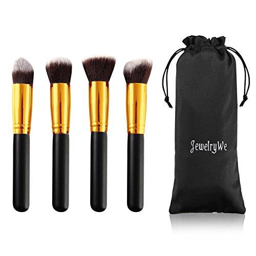JewelryWe 4PCS Professionnel Pinceaux-Brosse de Maquillage Brush Cosmétique Beauté & Make-up Noir Or Ombre à Paupière