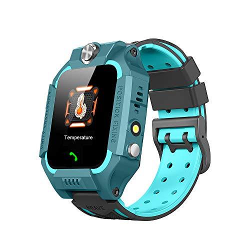 Multifunctioneel smartwatch voor kinderen, GPS-positionering om verlies te voorkomen, elektronische thermometer om de lichaamstemperatuur van het kind op elk moment te bewaken en spraakoproepen te ondersteunen (Blue)