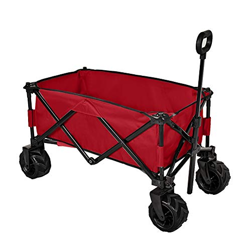 MAGIC UNION Folding Wagon Collapsible Utility Big Wheels Shopping Cart for Beach Outdoor Camping Garden Canvas Fabric All Terrain Heavy Duty Portable Grocery Cart Buggies Adjustable Handle (Red)