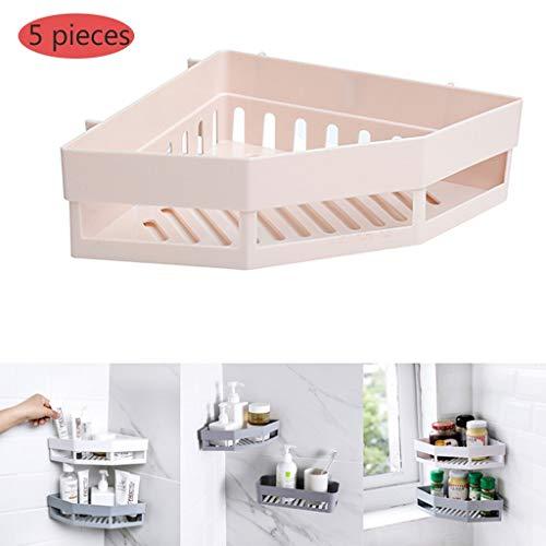 Opslagrack, creatief PP materiaal multifunctionele afvoer eenvoudige hoek plank, ponsvrij wand gemonteerd waterdicht en slijtvast badkamer keuken display stand 5 pieces Beige
