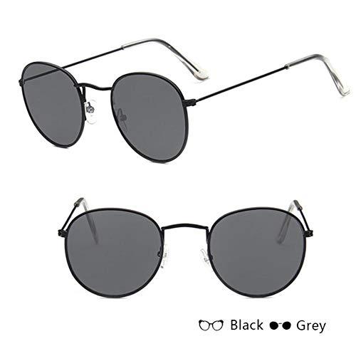 XCVB Mode zonnebril voor vrouwen Retro ronde zonnebril Dames legering spiegel zonnebril, zwart W grijs