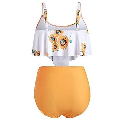 Swimming Suit for Women Two Pieces Bathing Suits Top Ruffled High Waisted Bottom Bikini Set Fashion Bohemian,M