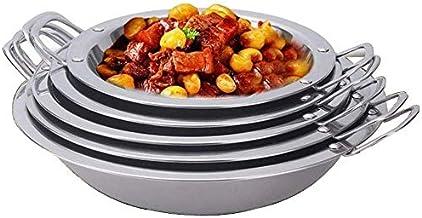 Kitchen Cookware Thick Stainless Steel Wide-Edge binaural Pot Flat-Bottom hot Pot Commercial Flat-Bottom hot Pot Fry pan M...