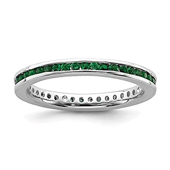 925 Sterling Silver Created Green Emerald Band Ring Size 10.00 Stone Stackable Gemstone Birthstone May Fine Jewelry For Women Gifts For Her