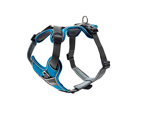 HUNTER DIVO Hundegeschirr, Nylon, gepolstert mit Mesh-Material und Neopren, ergonomisch, reflektierend, M, hellblau/grau