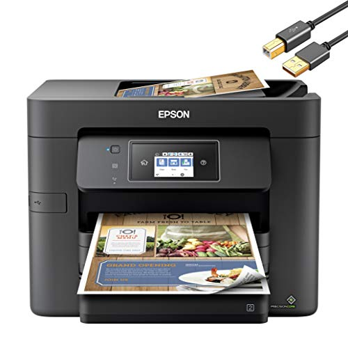 Epson WorkForce Pro WF 37XX Series Wireless All-in-One Home Office Color Inkjet Printer - Print Scan Copy Fax - 20 ppm, 500-Sheet, Auto 2-Sided Printing, 35-Sheet ADF, Ethernet - ORPHYER Printer Cable