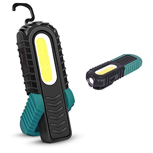 Linterna de Trabajo LED Recargable,Luz de Trabajo Super Brillante LED Parte Delantera de 5W COB LED con Base Ajustable, Gancho e Imán para Hogar, Taller, Automóviles, Camping, Emergencia (Verde)
