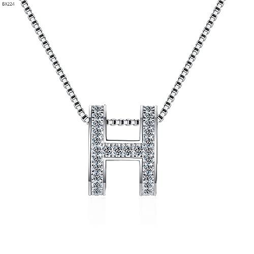 Kkoqmw Plata de Ley 925 1CT Collar Cadena Mujer Joyería Regalo de Compromiso