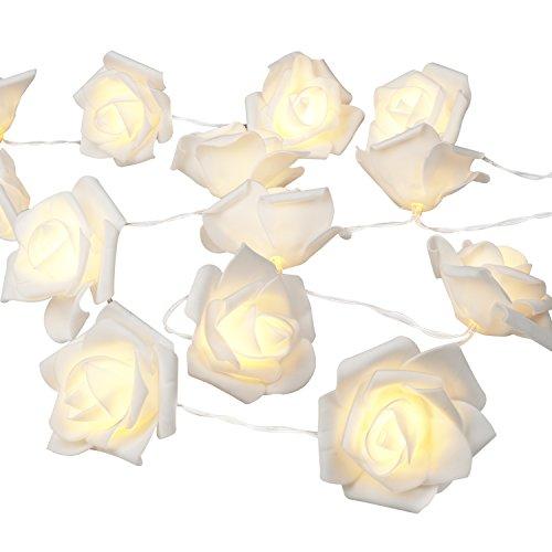 Denknova® 30er LED Rosen Lichterkette, batteriebetrieben, Warmweiß, 3 Meter
