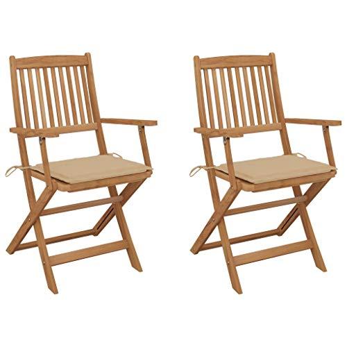 vidaXL 2X Akazienholz Massiv Gartenstuhl Klappbar mit Kissen Armlehnen Klappstuhl Stuhl Stühle Gartenstühle Holzstuhl Klappstühle Gartenmöbel