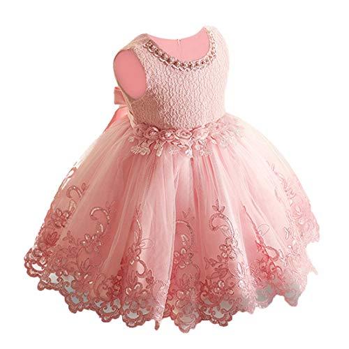 LZH Baby Mädchen Kleid Formale Party Prinzessin Hochzeit Geburtstag Blume Spitzenkleid(981-Baby Pink,90)