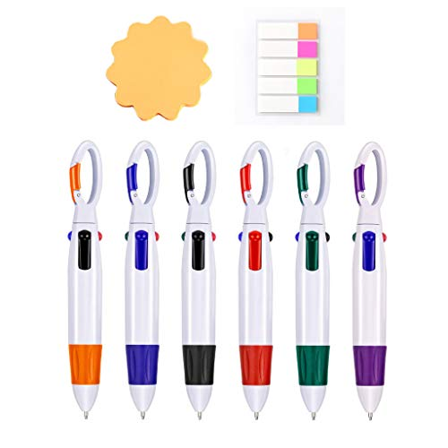 Multicolor Retractable Shuttle Pens 0.7mm 4 Color Ink(Black, Blue, Red, Green) in One Ballpoint Pens with Carabiner Keychain On Top for School, Scribble Activity, Party (6 PCS carabiner shuttle pens)