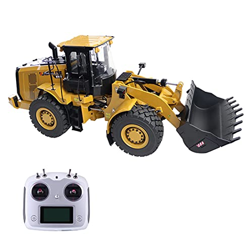 YOU339 Huina 1/16 - Vehículo de construcción teledirigido 2.4 G, tecnología de aleación completa RC coche hidráulico, maquinaria de construcción, modelo Bulldozer juguete