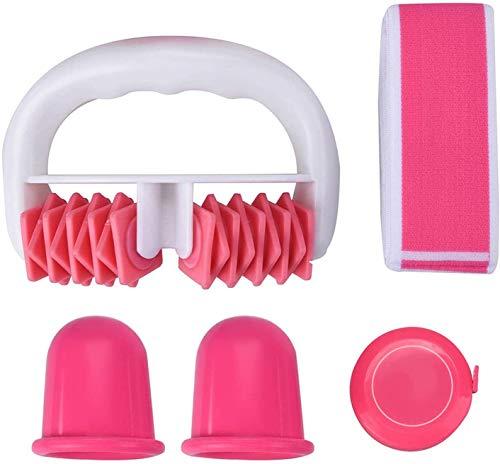 Anself 4 Pcs Ventouse Anti-cellulite Kit, avce Minceur Roller, Ventouse Silicone Cellulite, Bande de Tension, Mètre Ruban pour Domicile Faire des Exercices