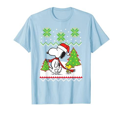 Snoopy Santa Hat and Trees T-shirt, Men, Women, Kids Sizes
