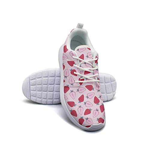 Strawberry and Cherry Fruit Pink white Basketball Sneakers for Men nursing Breathable and Lightweight Walking Shoes
