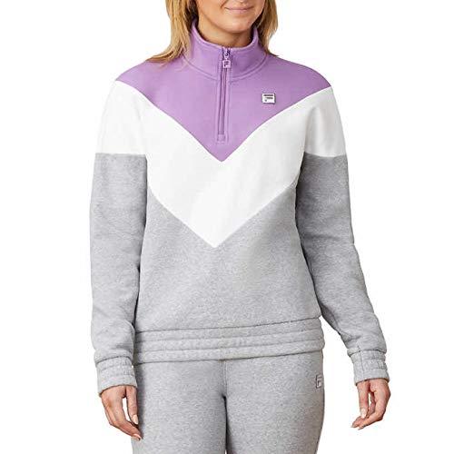 Fila Womens 1/4 Zip Pullover Sweatshirt (Grey/Lavender/White, Large)