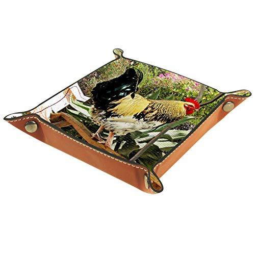 Kleine Aufbewahrungsbox,Herren-Valet-Tablett,Tiergeflügel Henne Huhn,Leder Catchall Organizer für Coin Box Key Schmuck