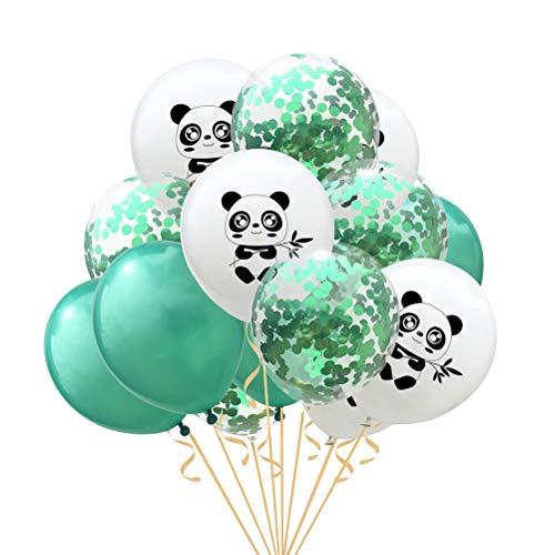 Amosfun Balloon Set Kit de Ballons en Latex de Panda pour la décoration de fête de Mariage Anniversaire 12 Pouces 15pcs (Vert et Blanc)