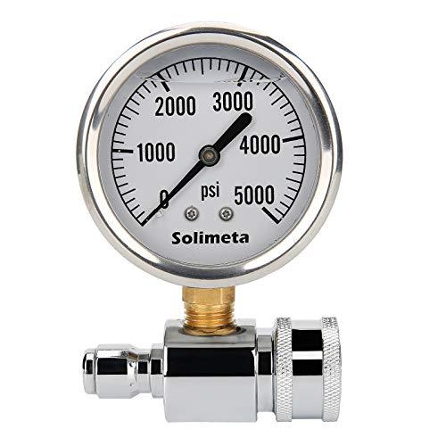 "Solimeta 2-1/2"" Pressure Washer Pressure Gauge Kit, 3/8 Inch Quick Connect, 5000 psi Pressure Washer, Liquid Filled"